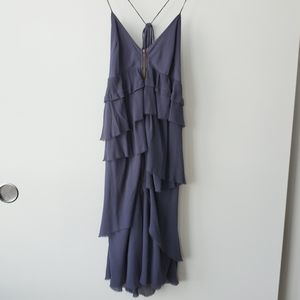 Aritzia Wilfred Navy Ruffle Silk Dress - No Size